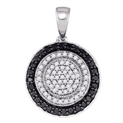 0.50 CTW Black Color Diamond Circle Pendant 10KT White Gold - REF-26Y9X