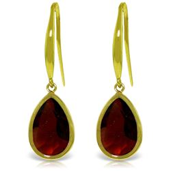 Genuine 5 ctw Garnet Earrings Jewelry 14KT Yellow Gold - REF-37A7K