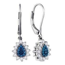 0.53 CTW Blue Color Diamond Teardrop Dangle Earrings 10KT White Gold - REF-34F4N