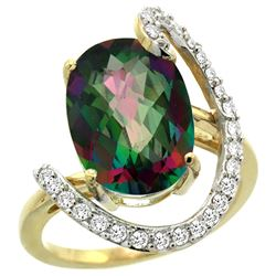 Natural 5.89 ctw Mystic-topaz & Diamond Engagement Ring 14K Yellow Gold - REF-91V4F