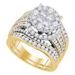 2.52 CTW Princess Diamond Soleil Bridal Engagement Ring 14KT Yellow Gold - REF-299N9F