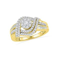 0.75 CTW Diamond Cluster Bridal Engagement Ring 10KT Yellow Gold - REF-57K2W