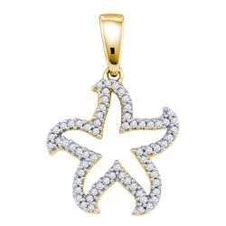 0.20 CTW Diamond Star Pendant 10KT Yellow Gold - REF-14H9M