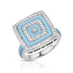 2.48 CTW Turquoise & Diamond Ring 14K White Gold - REF-64N6Y