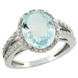 Natural 3.09 ctw Aquamarine & Diamond Engagement Ring 14K White Gold - REF-60M5H