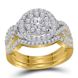 1.24 CTW Diamond Halo Bridal Engagement Ring 14KT Yellow Gold - REF-134K9W