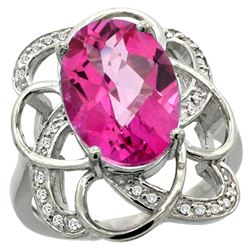 Natural 5.59 ctw pink-topaz & Diamond Engagement Ring 14K White Gold - REF-59G6M