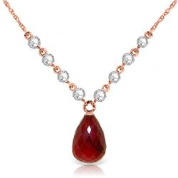 Genuine 15.6 ctw Ruby & Diamond Necklace Jewelry 14KT Rose Gold - REF-139A8K