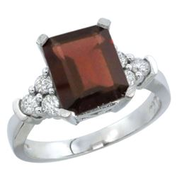 Natural 2.86 ctw garnet & Diamond Engagement Ring 10K White Gold - REF-54V7F