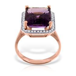 Genuine 5.8 ctw Amethyst & Diamond Ring Jewelry 14KT Rose Gold - REF-82Y2F