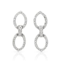 0.44 CTW Diamond Earrings 14K White Gold - REF-38Y7X
