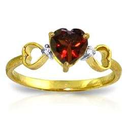 Genuine 0.96 ctw Garnet & Diamond Ring Jewelry 14KT Yellow Gold - REF-41T4A