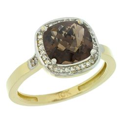 Natural 3.94 ctw Smoky-topaz & Diamond Engagement Ring 10K Yellow Gold - REF-29F2N