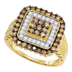 1 CTW Cognac-brown Color Diamond Square Cluster Ring 10KT Yellow Gold - REF-52N4F