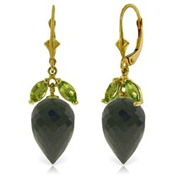 Genuine 25.5 ctw Black Spinel & Peridot Earrings Jewelry 14KT Yellow Gold - REF-49Z3N