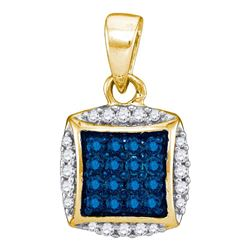 0.25 CTW Blue Color Diamond Square Pendant 10KT Yellow Gold - REF-13F4N