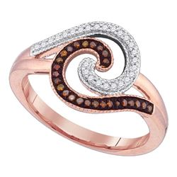 0.18 CTW Red Color Diamond Curl Fashion Ring 10KT Rose Gold - REF-25F4N