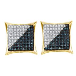 0.11 CTW Mens Blue Color Diamond Square Kite Cluster Earrings 10KT Yellow Gold - REF-8Y9X