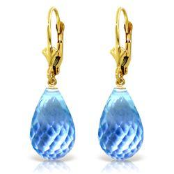 Genuine 28 ctw Blue Topaz Earrings Jewelry 14KT Yellow Gold - REF-40M5T