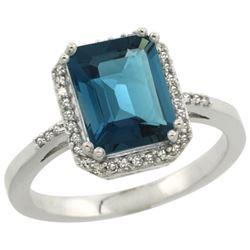 Natural 2.63 ctw London-blue-topaz & Diamond Engagement Ring 14K White Gold - REF-44G2M