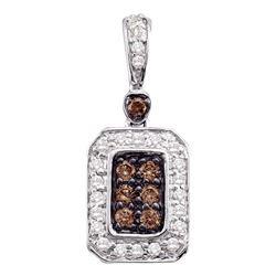 0.25 CTW Cognac-brown Color Diamond Rectangle Cluster Pendant 10KT White Gold - REF-25Y4X
