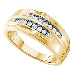 0.32 CTW Mens Diamond Double Row Ring 14KT Yellow Gold - REF-67H4M