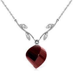 Genuine 15.27 ctw Ruby & Diamond Necklace Jewelry 14KT White Gold - REF-46A7K