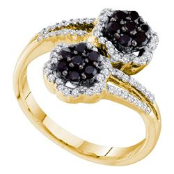 0.50 CTW Black Color Diamond Flower Cluster Bypass Ring 14KT Yellow Gold - REF-52W4K