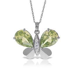 Genuine 6.6 ctw Amethyst & Diamond Necklace Jewelry 14KT White Gold - REF-126X3M