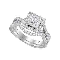 0.88 CTW Princess Diamond Bridal Engagement Ring 14KT White Gold - REF-104N9F