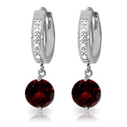 Genuine 2.53 ctw Garnet & Diamond Earrings Jewelry 14KT White Gold - REF-54F6Z