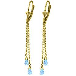 Genuine 2.5 ctw Blue Topaz Earrings Jewelry 14KT Yellow Gold - REF-29N7R