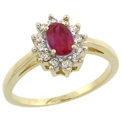 Natural 0.82 ctw Ruby & Diamond Engagement Ring 14K Yellow Gold - REF-48F5N