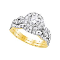 1.75 CTW Diamond Bridal Wedding Engagement Ring 14KT Yellow Gold - REF-292N5F