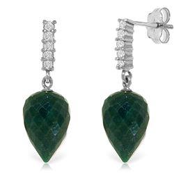 Genuine 25.95 ctw Green Sapphire Corundum & Diamond Earrings Jewelry 14KT White Gold - REF-51Z2N