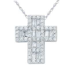 1 CTW Diamond Necklace 14K White Gold - REF-98W6H