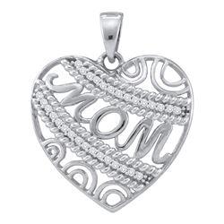0.10 CTW Diamond Mom Mother Filigree Heart Pendant 10KT White Gold - REF-14H9M