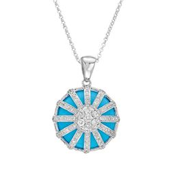 9.27 CTW Turquoise & Diamond Necklace 14K White Gold - REF-59K8W