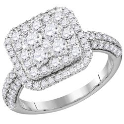 1.63 CTW Diamond Square Cluster Bridal Engagement Ring 14KT White Gold - REF-179H9M