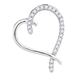 0.15 CTW Diamond Segmented Heart Outline Pendant 10KT White Gold - REF-12K2W