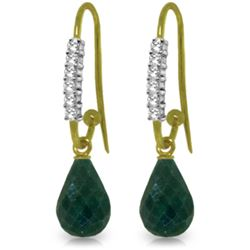 Genuine 17.78 ctw Green Sapphire Corundum & Diamond Earrings Jewelry 14KT Yellow Gold - REF-47Y5F