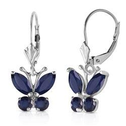 Genuine 1.24 ctw Sapphire Earrings Jewelry 14KT White Gold - REF-42W9Y