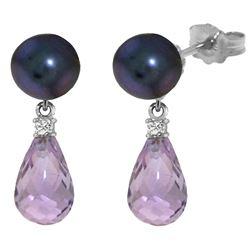 Genuine 6.6 ctw Black Pearl, Amethyst & Diamond Earrings Jewelry 14KT White Gold - REF-27Z6N