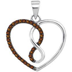 0.13 CTW Cognac-brown Color Diamond Heart Infinity Pendant 10KT White Gold - REF-10K5W