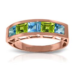 Genuine 2.25 ctw Blue Topaz & Peridot Ring Jewelry 14KT Rose Gold - REF-54M2T