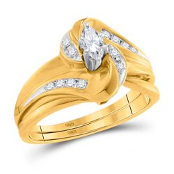 0.24 CTW Marquise Diamond Bridal Engagement Ring 10KT Yellow Gold - REF-37K5W