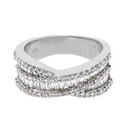1.35 CTW Diamond Ring 18K White Gold - REF-156M4F