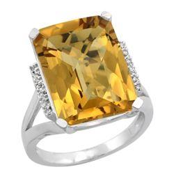 Natural 12.13 ctw Whisky-quartz & Diamond Engagement Ring 10K White Gold - REF-52X2A
