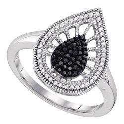 0.35 CTW Black Color Diamond Teardrop Ring 10KT White Gold - REF-30H2M