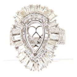 4.24 CTW Diamond Semi Mount Ring 14K White Gold - REF-433M2F